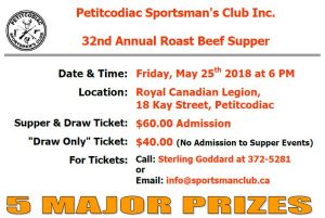 PSC's 32nd Annual Roast Beef Supper and Major Prizes